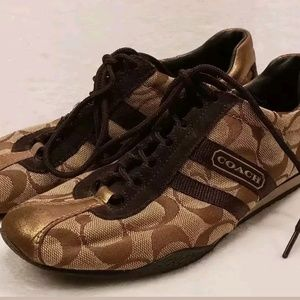 Coach brown gold fashion sneakers 6